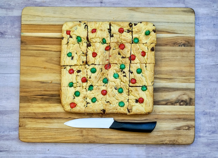 Christmas cookie bars cut into squares.