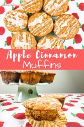 "Collage photo of muffins with words ""apple cinnamon muffins""."