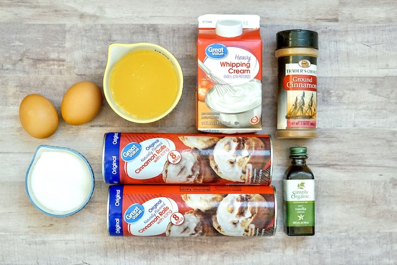 Ingredients for crock pot cinnamon roll casserole.