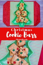 """Collage photo of cookie bars and words """"Christmas cookie bars"""""""
