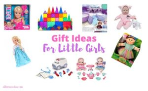 Collage photo of gift ideas for little girls.