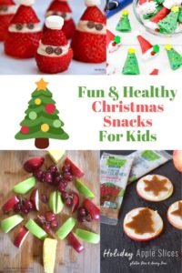 """Collage photo of Christmas themed snacks and the words """"fun & healthy Christmas snacks for kids"""""""