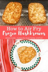 "A collage of frozen hash browns and words ""how to air fry frozen hashbrowns"""