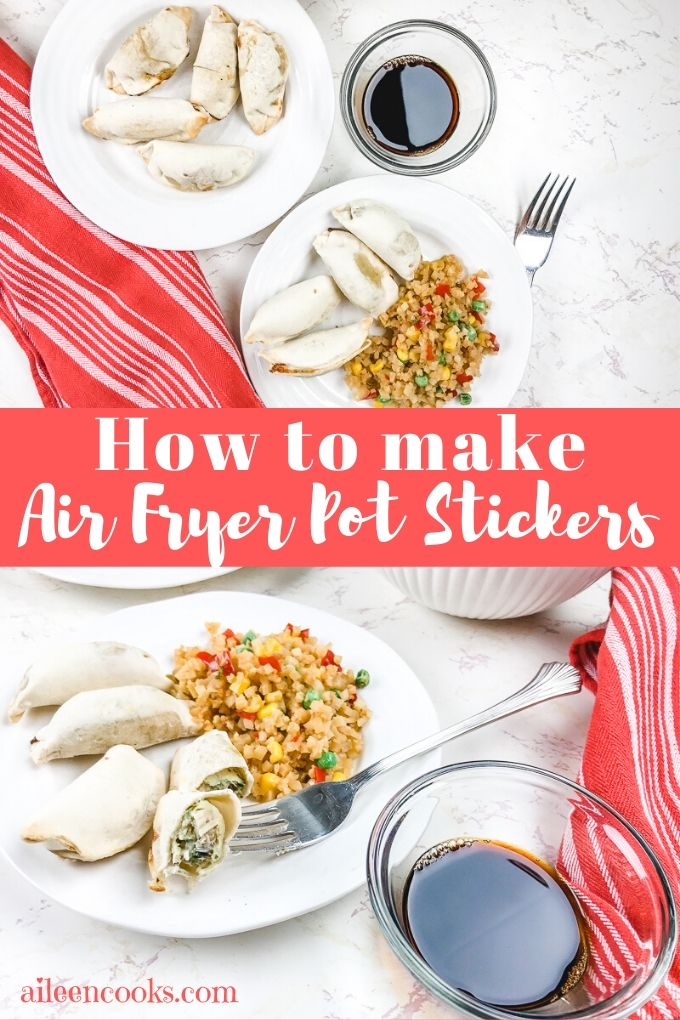 "Collage photo of pot stickers with words ""how to make air fryer pot stickers"""