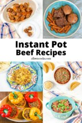 Collage photo of instant pot beef recipes.
