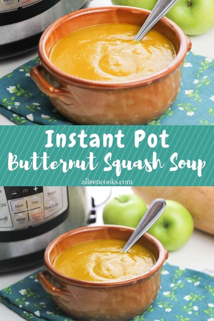 Collage photo of butternut squash soup.
