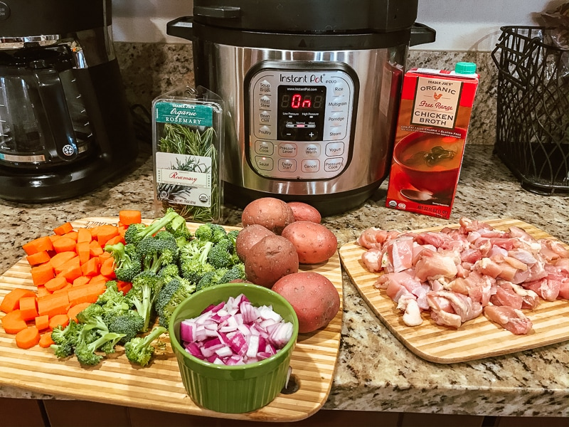 Ingredients for instant pot chicken and vegetables.
