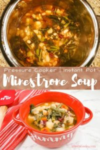 Collage photo of minestrone soup.