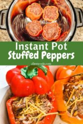 A collage photo of stuffed peppers on platter and inside instant pot.