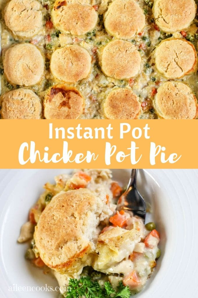 Collage of instant pot chicken pot pie photos.