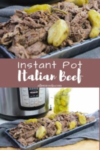 Collage photo of instant pot and Italian beef.