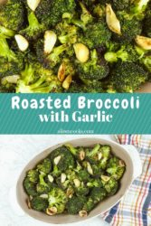 Collage photo of roasted broccoli.