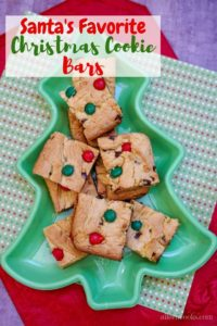 """Picture of cookie bars in tree shaped dish and words """"Santa's favorite Christmas cookie bars"""""""