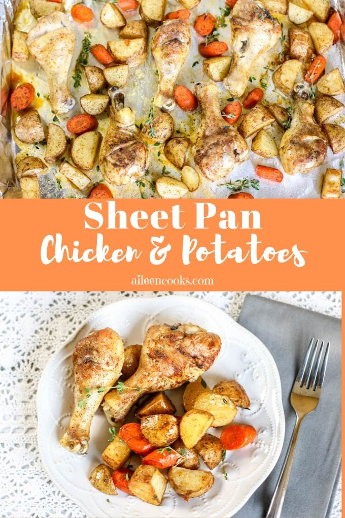 Close up of chicken and potatoes on a sheet pan
