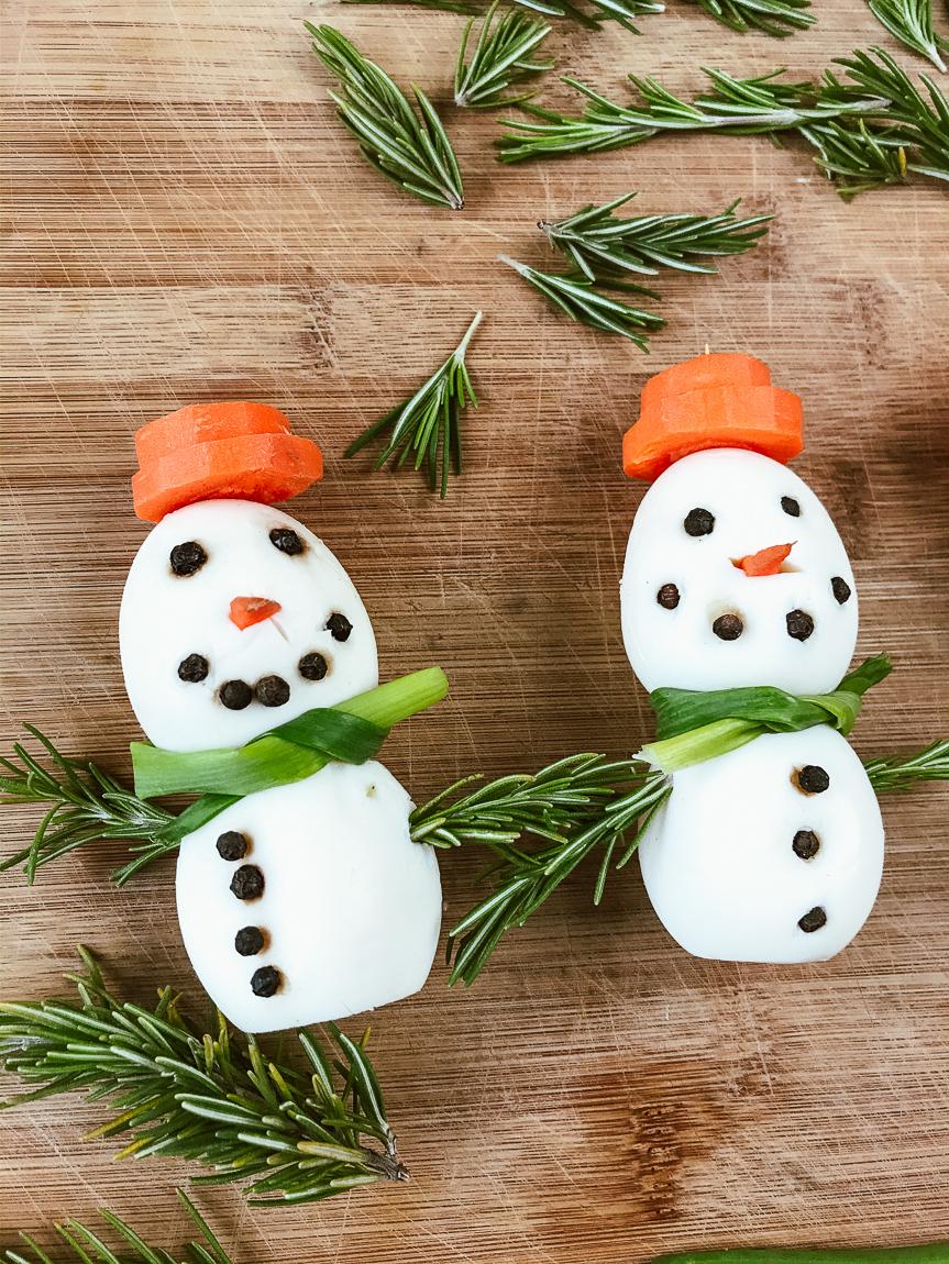 Two snowman eggs.