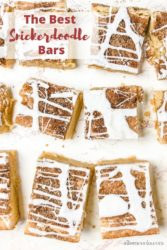 "Overhead shot of cookie bars with words ""the best snickerdoodle bars"""