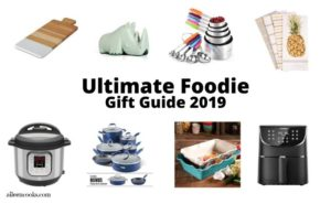 Collage photo of items on foodie gift guide.