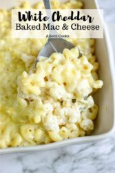"Collage photo of baked Mac and cheese with words ""White cheddar baked Mac & cheese"""