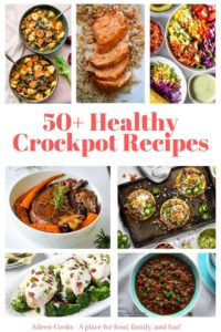 "Collage photo with healthy dinners and words ""50 healthy crockpot recipes"" in red."