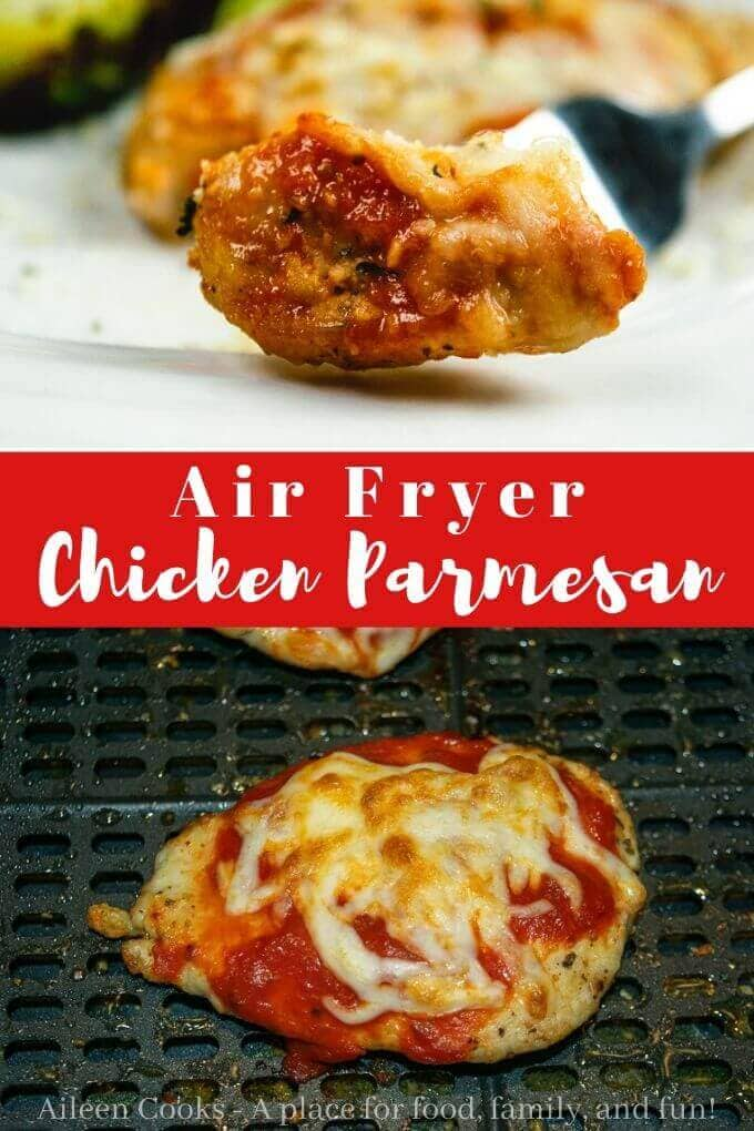 Are you looking for a healthy chicken dinner recipe? Try this air fryer chicken parmesan recipe! It's crispy and flavorful without all of the added fat!
