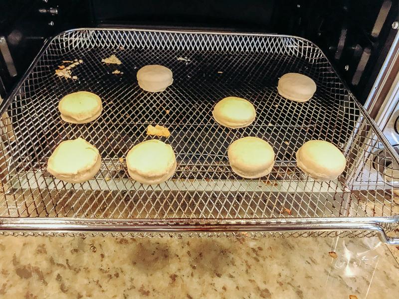 Donut holes inside air fryer oven.