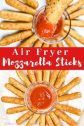 Collage photo of cooked mozzarella sticks with marinara sauce.