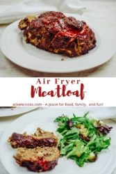 Collage photo of meatloaf on a white plate.