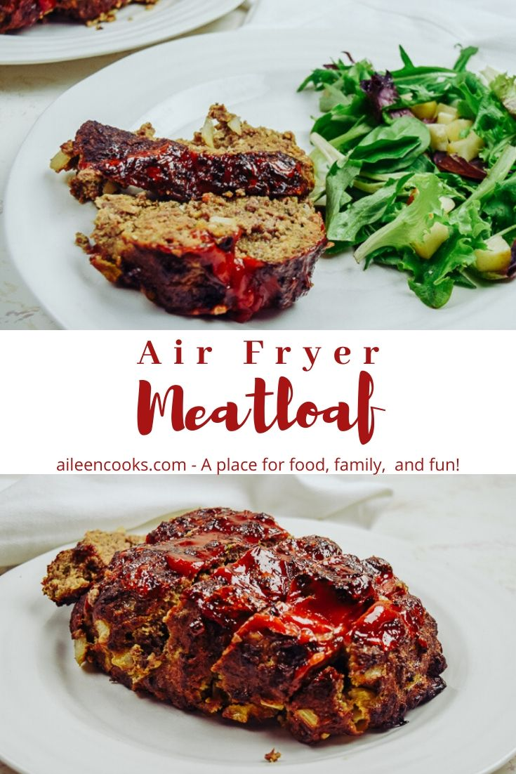 Collage photo of slices of meatloaf.
