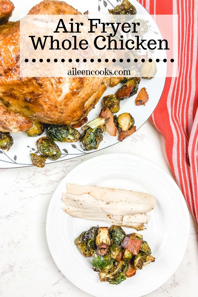 This air fryer whole chicken is juicy on the inside with perfectly crispy skin on the outside! You are going to love how easy it is to cook a whole chicken in your air fryer.