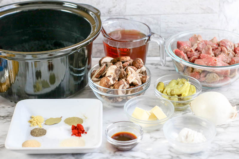 Ingredients set out to make crockpot beef tips.