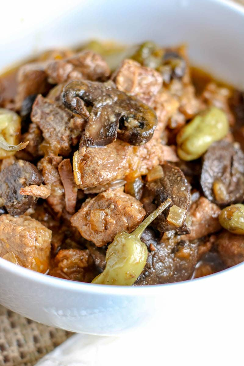 Close up of beef tips with gravy.