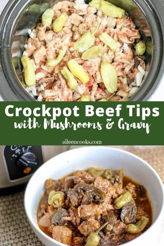 Crockpot Beef Tips with mushrooms and gravy is a comforting slow cooker meal that will please your whole family! It takes just 15 minutes of prep time and you can come home to a delicious meal!