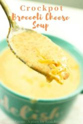 "Spoonful of soup with words ""crockpot broccoli cheese soup"" in orange."