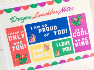 Close up of printable lunchbox notes.