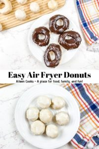 "A collage photo of donuts and donut holes with words ""easy air fryer donuts"" in black writing."
