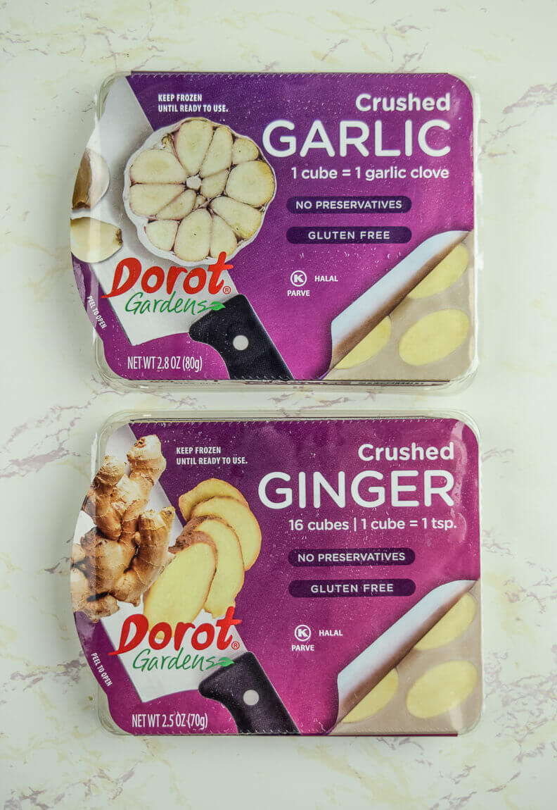 Two packages of frozen Dorot gardens ginger and garlic.