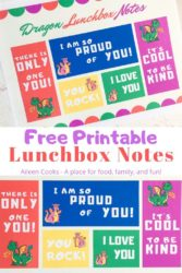 "Collage photo of printable dragon notes with words ""free printable lunchbox notes"""