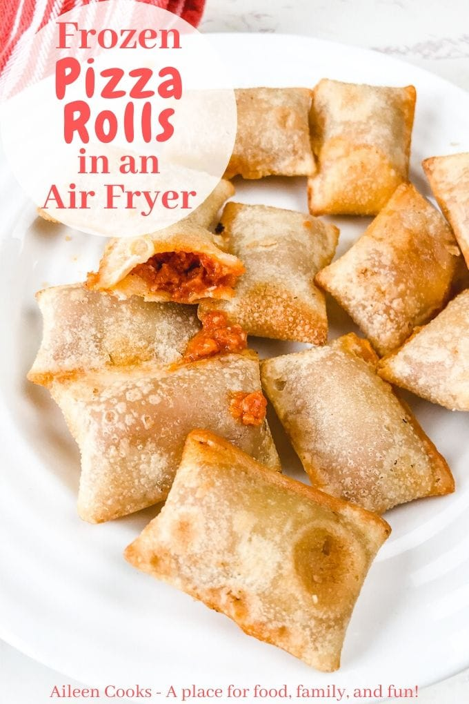 """A white plate of pizza rolls with words """"frozen pizza rolls in an air fryer""""  in red letters."""