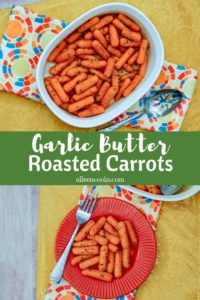Collage photo of cooked carrots in a white baking dish and roasted carrots on a red plate.