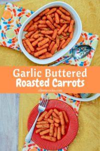 A collage photo of a baking dish of roasted carrots and a plate of carrots.