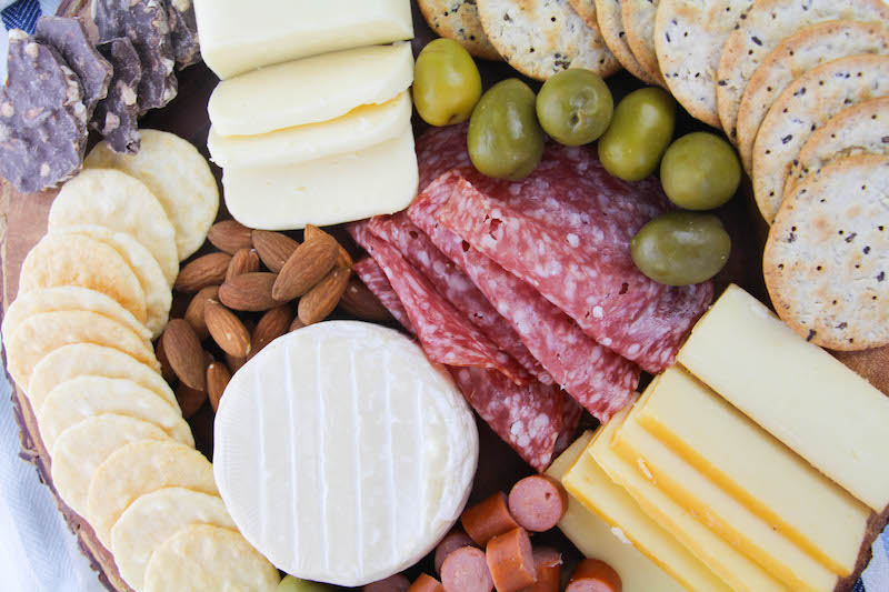 Close up of charcuterie board.