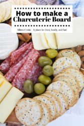 A platter of cheeses and meats.
