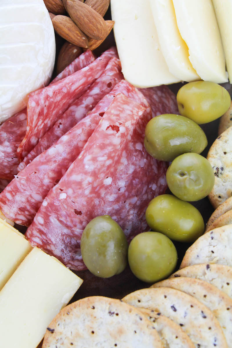 Close up of salami in center.