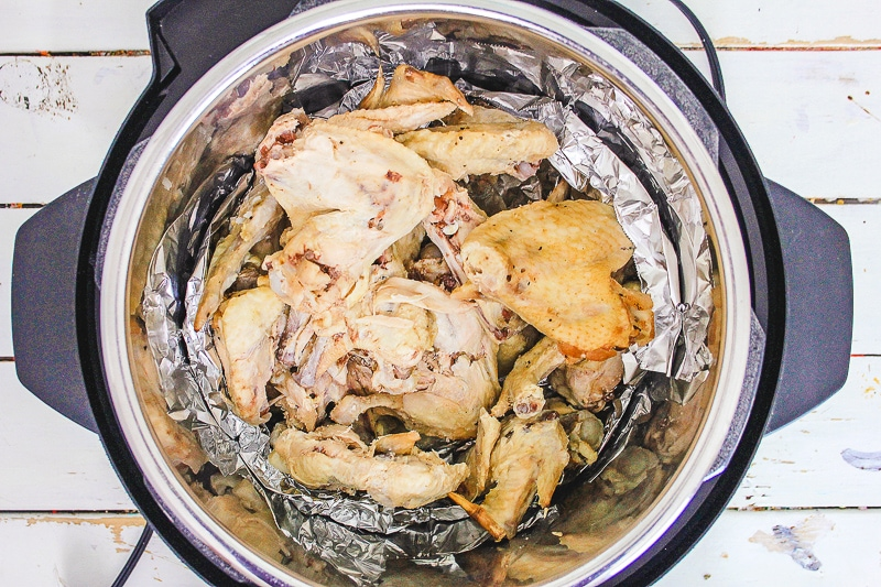 Chicken wings inside instant pot.