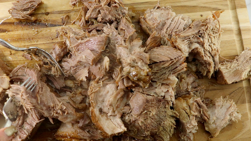 Shredded pulled pork.