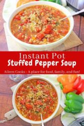 "Collage photo of two bowls of soup and words ""instant pot stuffed pepper soup"" in red."