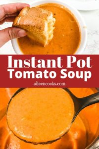 Collage photo of ladle of tomato soup and grilled cheese dipping in tomato soup.