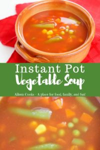 """Collage of vegetable soup photos with words """"instant pot vegetable soup"""""""