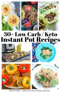 A collage photo of low carb meals made in the instant pot.