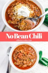 "Collage photo of bowls of chili with words ""no bean chili"" in red."